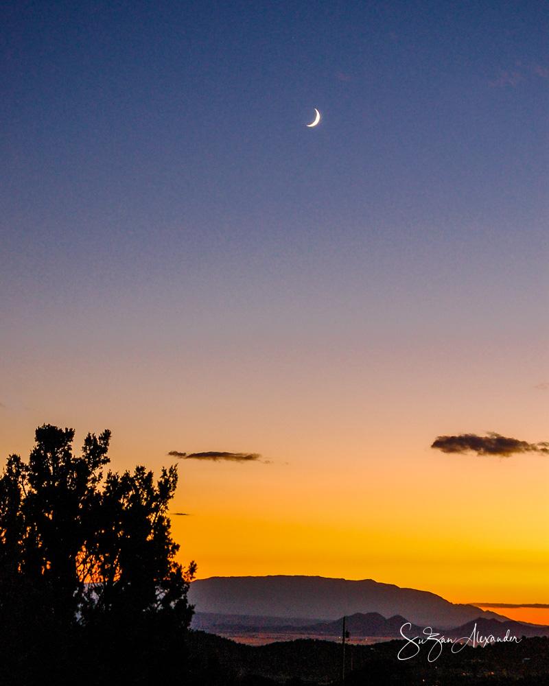 © 2010 SuZan Alexander,   Moon Rising Over Santa Fe, New Mexico  . Digital Photography
