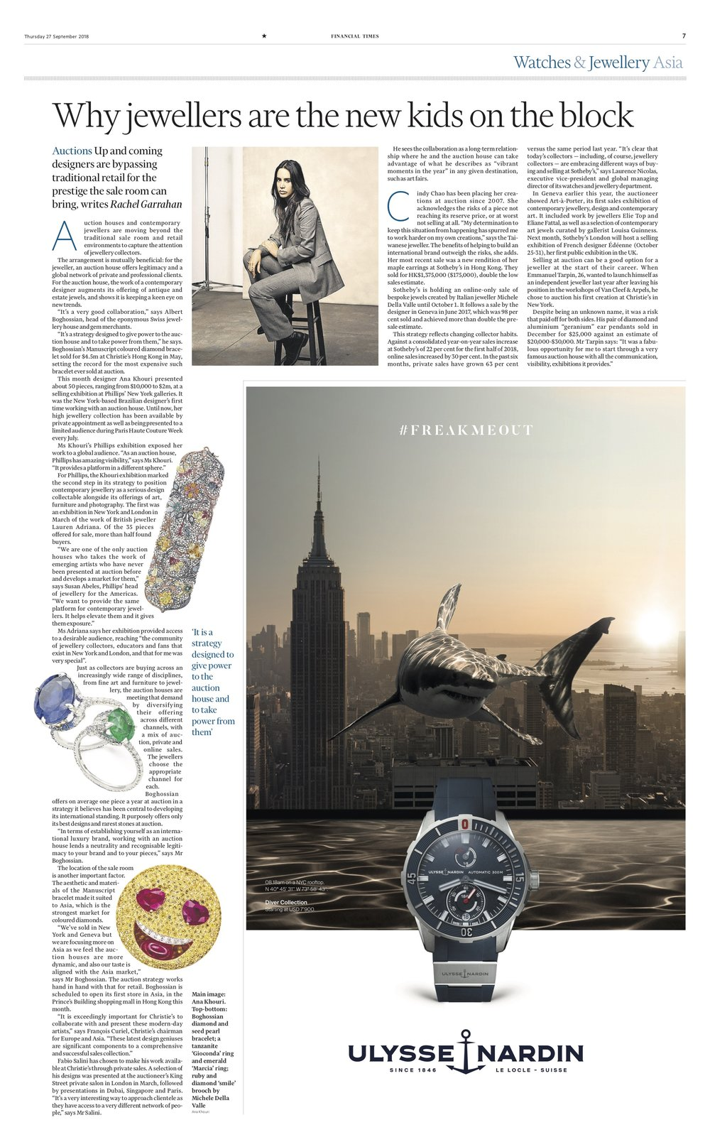 Financial Time September 2018 Feature - Phillips Gioconda Tanzanite Ring & Emerald Marcia Ring.jpg