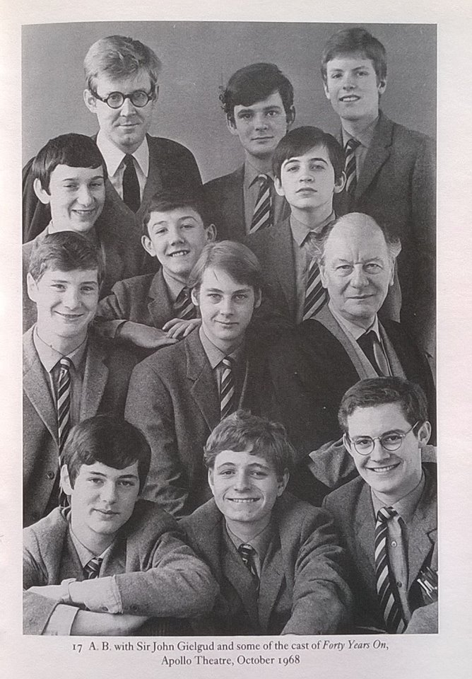 Forty Years On - Merlin Ward was fortunate to be one of six boys to have a speaking role in Alan Bennett's 'Forty Years On' at the Apollo Theatre.Alan Bennett is top left, MW is top right, and Sir John Gielgud is sitting.