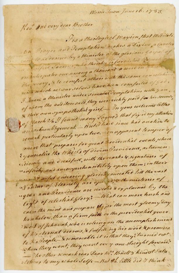Rev. Samuel Buell Letter to Rev. Timothy Johnes June 16, 1783, p.1