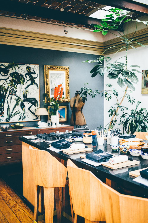 Place settings on the kitchen table at Casa Jacaranda.
