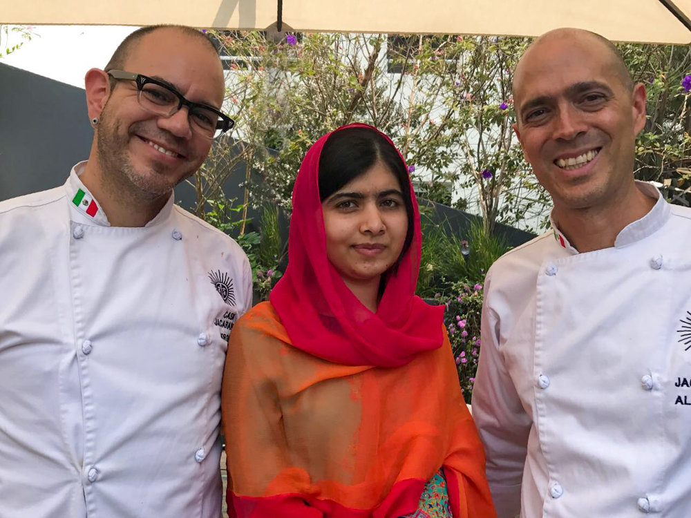 Malala Youzafsai with Jorge and Beto at Casa Jacaranda.