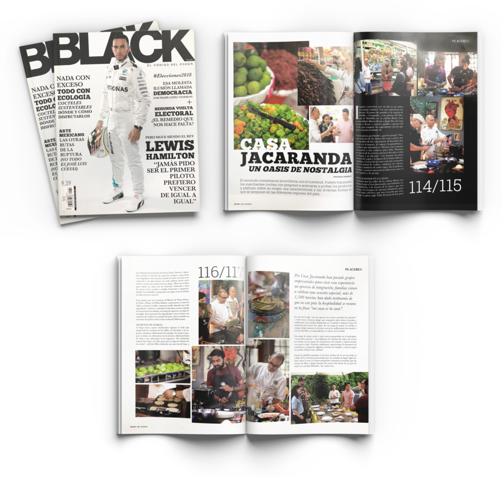 Feature on Casa Jacaranda in Black magazine.