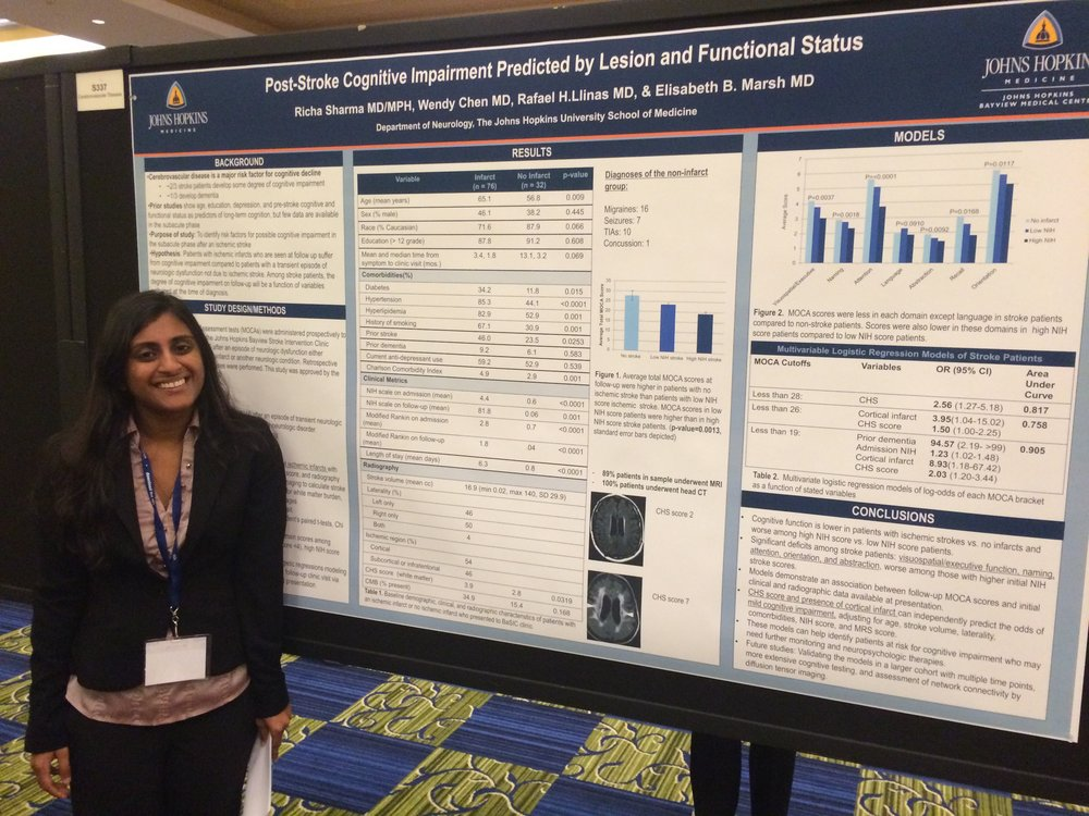Richa Sharma giving her poster presentation at the 2016 American Neurological Association Annual Meeting in Baltimore.