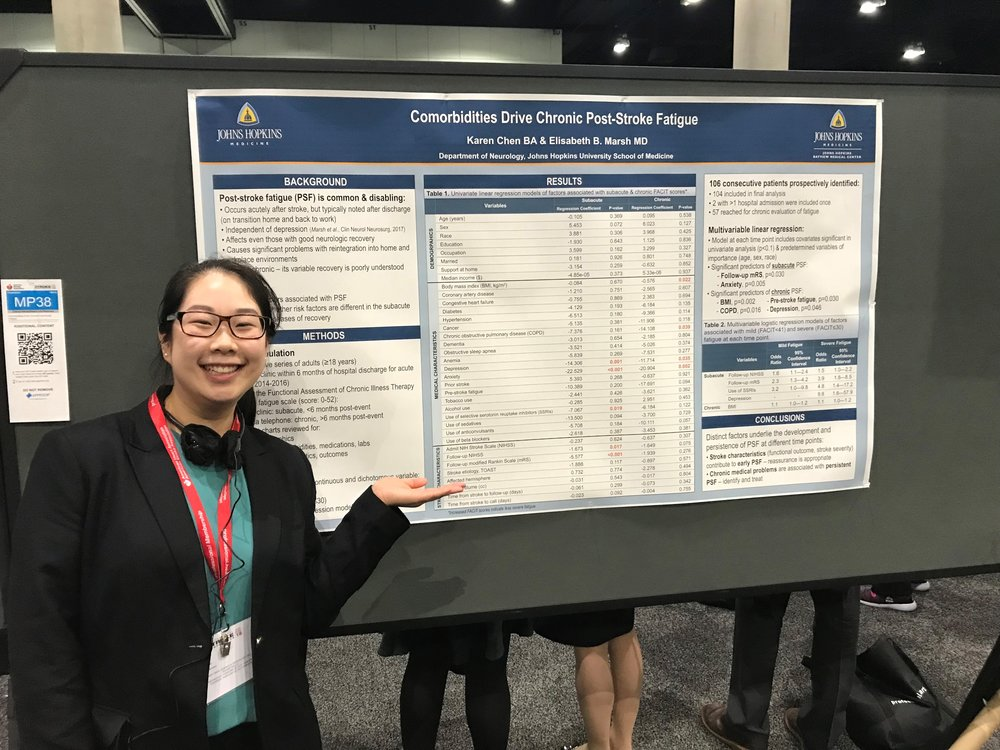 Karen Chen presenting her moderated poster at the 2018 International Stroke Conference in Los Angeles.