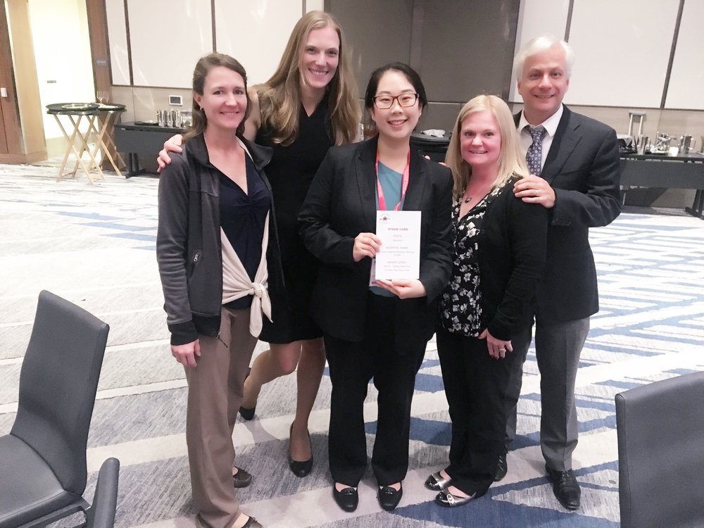 The Marsh lab representing Bayview at the 2018 International Stroke Conference's Quality Achievement Awards Dinner in Los Angeles. From left to right: Erin Lawrence, Dr. Marsh, Karen Chen, Dawn Merbach, and Dr. Llinas.