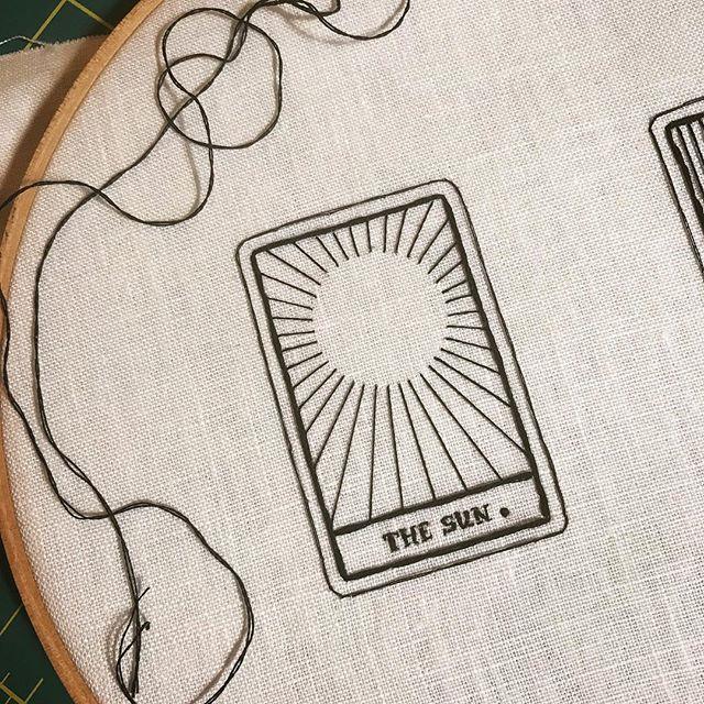 #wip for a tiny tarot commission. 🌻 ✦ ✦ ✦ #embroidery #embroideryart #embroideryartist #artist #artistsofinstagram #tarot #sun #suntarot #tarotcards #art #fiberart