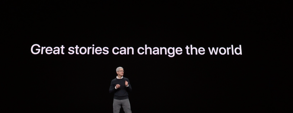Tim Cook on stage at the Steve Jobs Theater announcing Apple TV+.