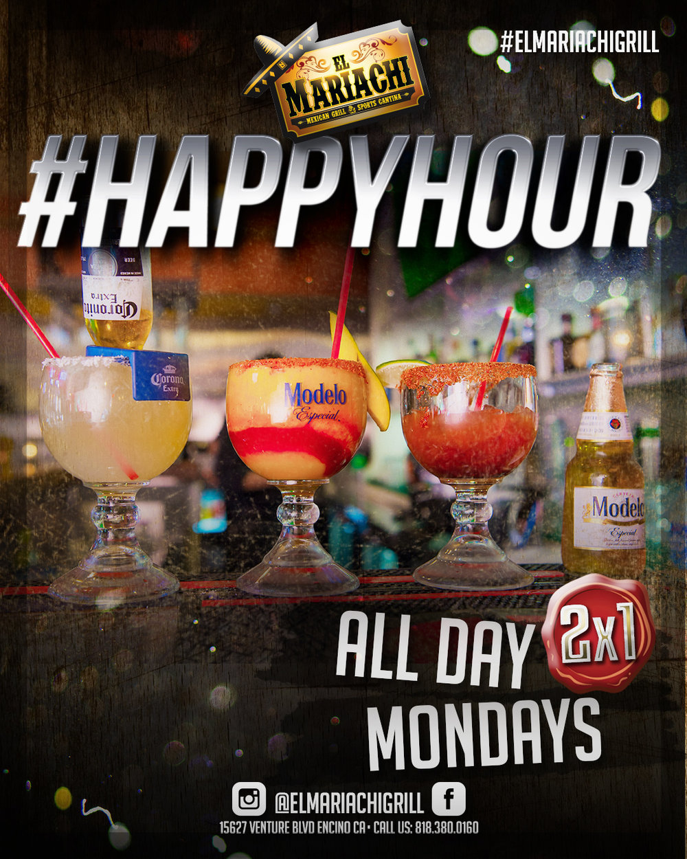MONDAYS - All day! 2x1 at the bar. Draft, mix drinks, shots or just a simple beer! #Happyhour