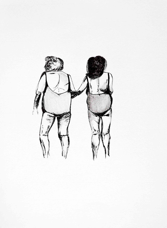 Brigitte et charlotte - Illustration encre sur papier25 x 32 cm2018Exemplaire original