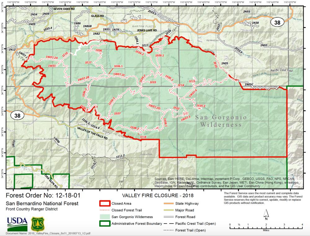 Entire San Gorgonio Wilderness Closed.