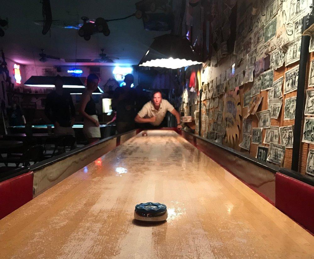 Shuffleboard at Lone Pine's Finest - Jakes Saloon