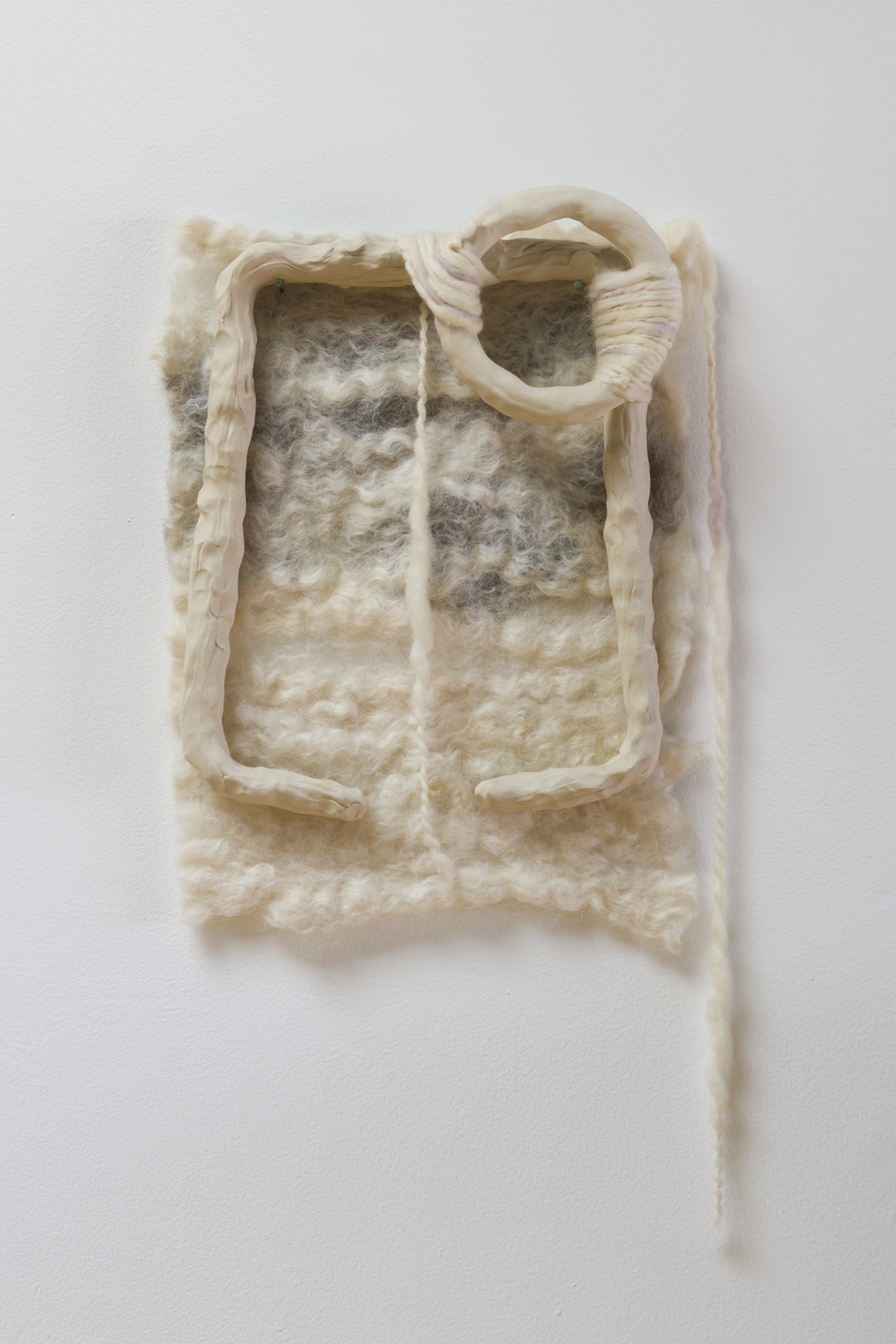 Ariel Herwitz  elements of joy , 2017 felted wool, hand-dyed yarn, porcelain, copper thread 20 x 10 x 2 in.