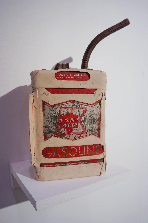Camille Schefter  One U.S. Gallon ,2017 Keen Kutter gasoline can, tattoo skins, ink 16 x 11 x 4 ½ in.