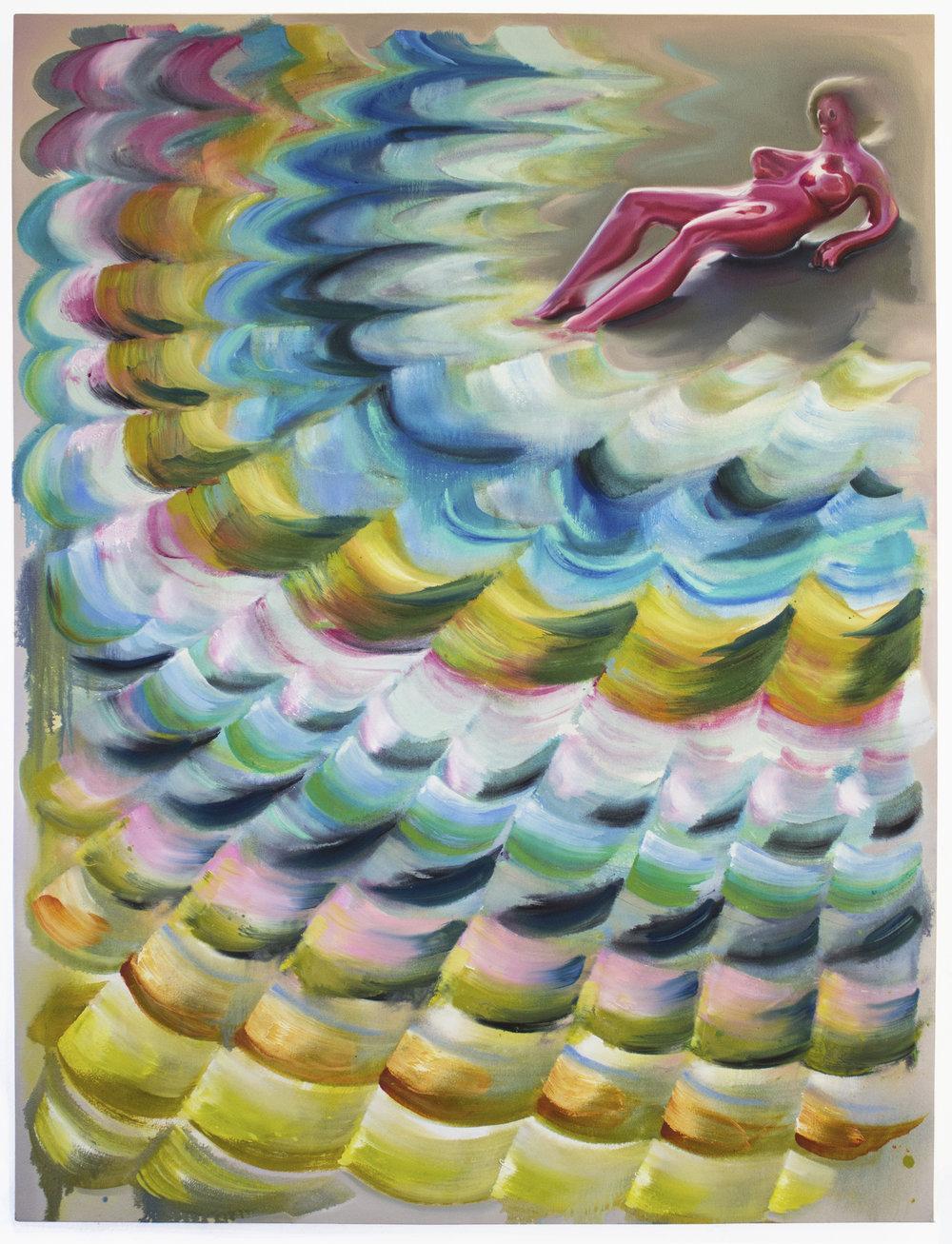 Lauren Satlowski  Wave Painting 07 ,2017 oil on canvas 36 x 48 x 4 in.
