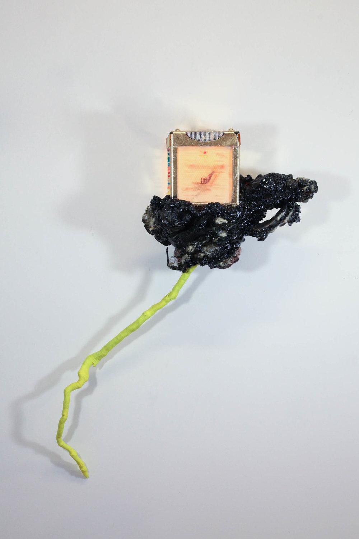 Camille Schefter  Lightning ,2017 Lite-Brite, tatttoo skin, gold leaf, ink, foam, paint, stick, string 43 x 38 x 11 in.