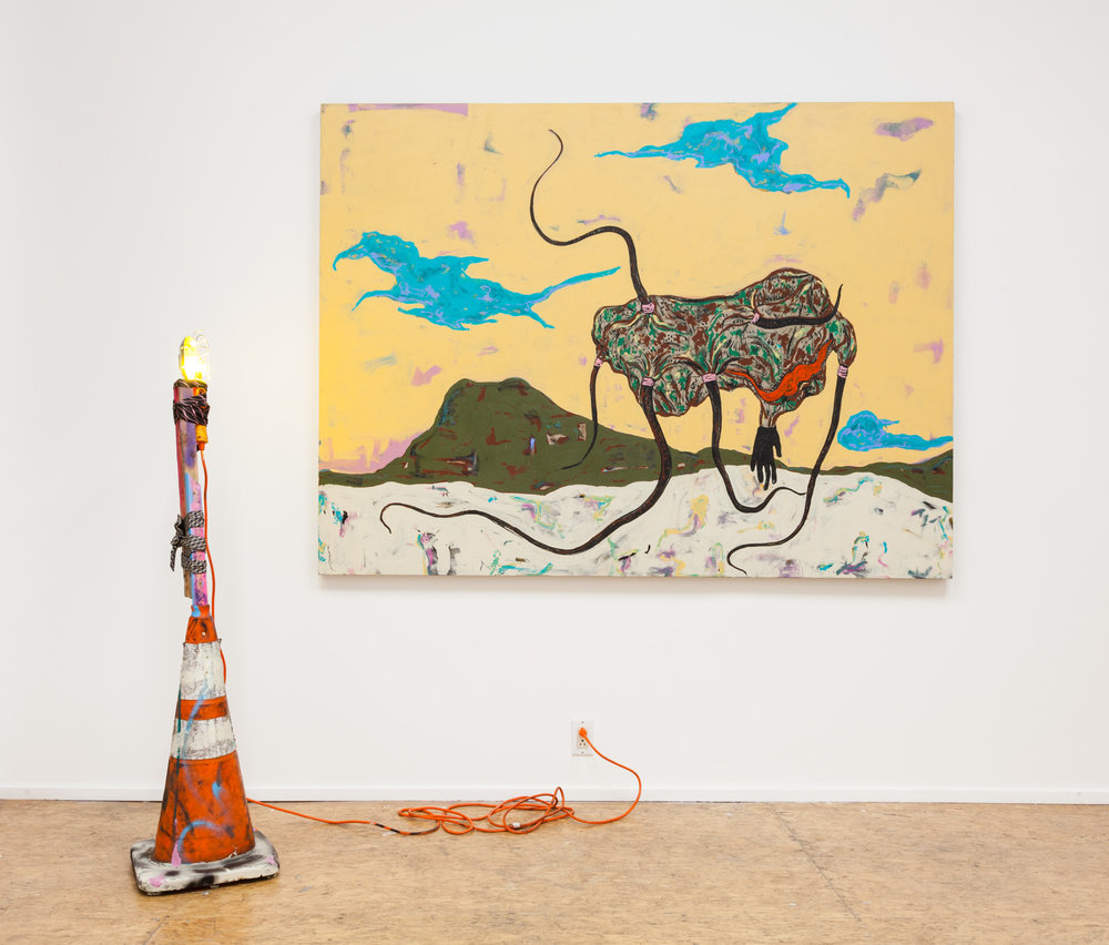 Simphiwe Ndzube  Beast and a Beacon , 2017 acrylic on linen, mixed media 59 x 79 x 1 in. (painting)  58 x 14 x 14 in. (sculpture)