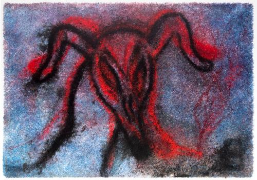 Brook Hsu  Dog Smoker , 2017 dye and acrylic on carpet 63 x 90 x 1 in