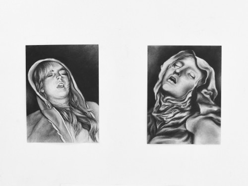 Casey Kauffmann,  PLUR St. Teresa and St. Lilo,  2017, charcoal on paper