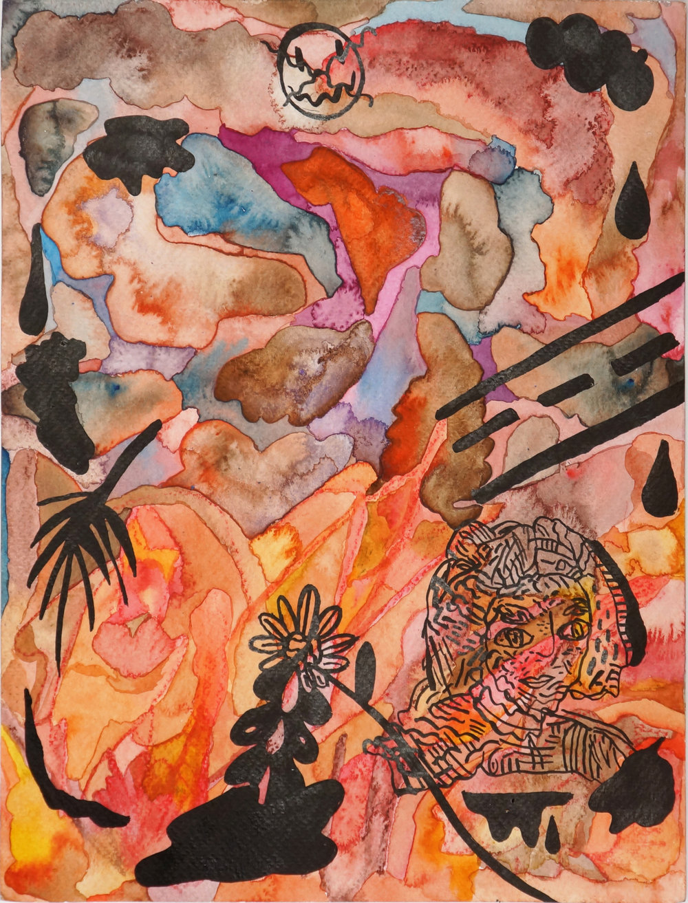 Maximus Jacobo Valentine Oppenheimer (meatgrinder)  Everything that I said I didn't know,  2018 watercolor and ink on paper 12 x 9 in.
