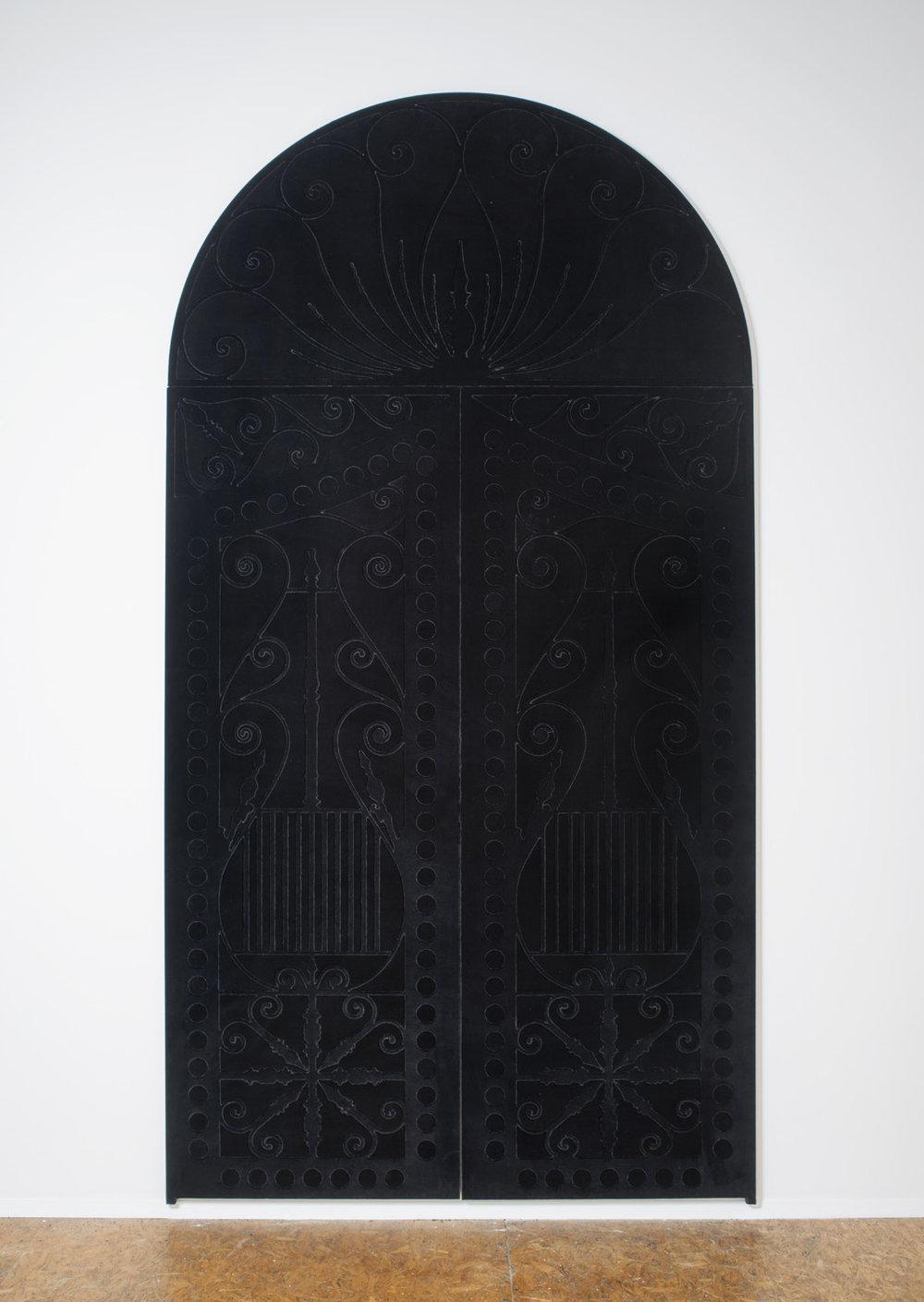 Amy Garofano  Black I: Outside Dream House,  2016 velvet over plywood 61 x 116 x 1 in.