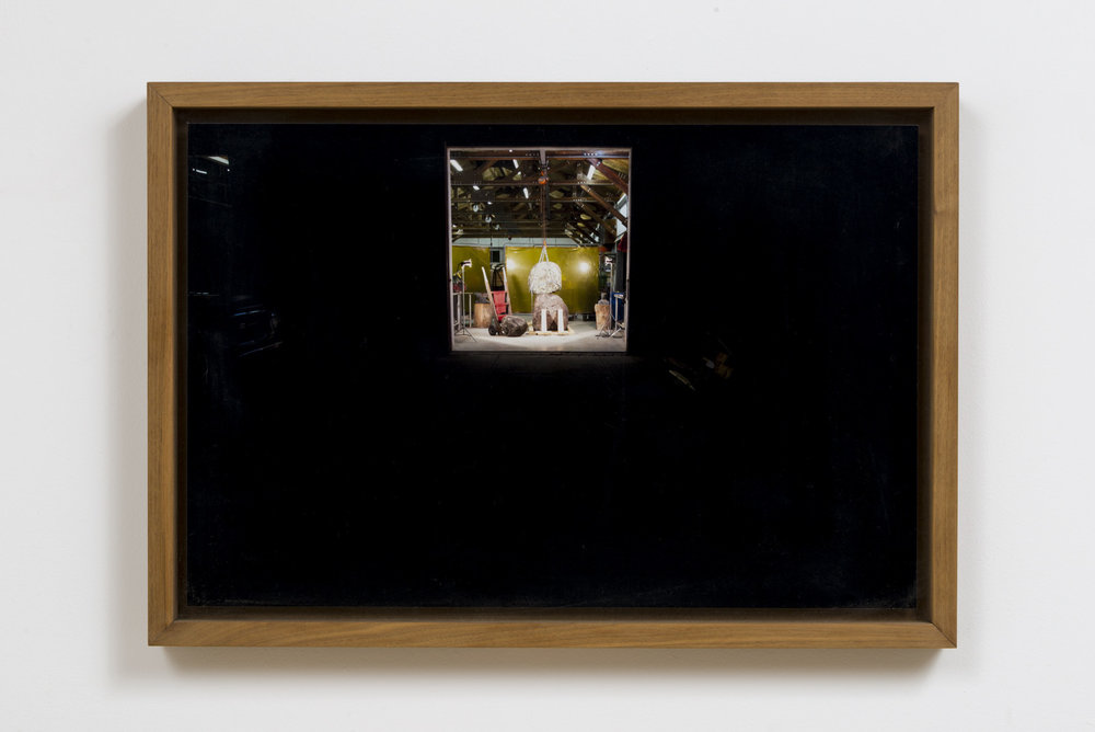 Catherine Fairbanks  Vignettes of Thereness, the making of a rock snowman , 2012 digital print on mounted dibond in mahogany frame 25 x 17 x 2 in.