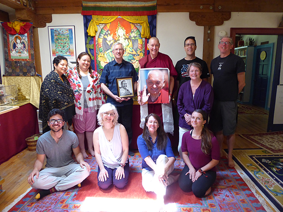 Denis Flora with Don Handrick, Ven. Tenzin Chogkyi and other participants at The a.r.t. of Fulfilment at Vajrapani Institute in July 2017