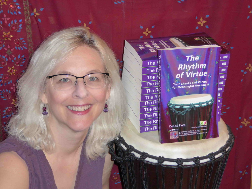 Denise Flore with her book  The Rhythm of Virtue.