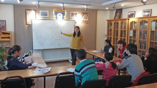 Ganden Do Ngag Shedrup Ling's 16 Guidelines teacher Altangerel Tumurtogoo and students, Ulaanbaatar, Mongolia, January 2018. Photo by Ianzhina Bartanova.