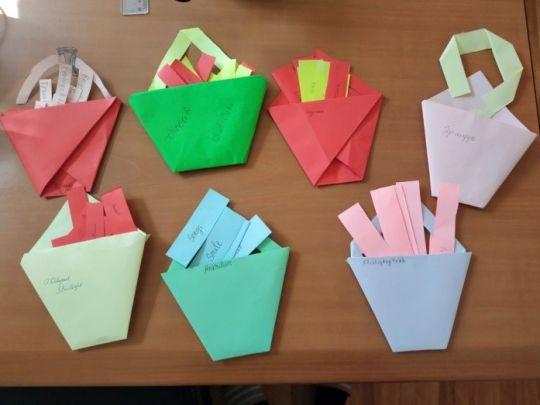 Buckets made by students in class, Ulaanbaatar, Mongolia, January 2018. Photo by Altangerel Tumurtogoo.