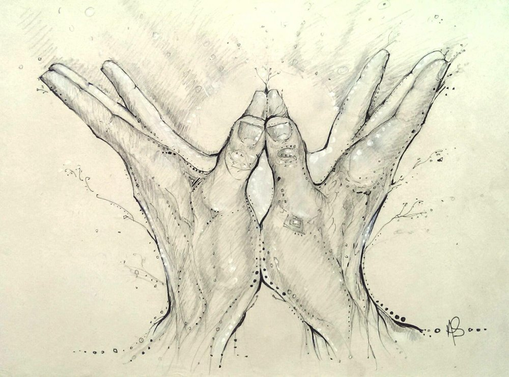 """ The most beautiful, thoughtful gift: the Lotus Mudra of the heart by Amanda Shafran. Thank you, dear...from the bottom of my own heart--a theme of this birthday. As many of my students know. mudras have become an important part of my practice and I am systematically going through Jospeh LePage's Mudras for Healing and Transformation. ""          - ALISON WEST    Ph.D, ERYT    Teacher & Director of Yoga Union    (Comissioned by Kristen Woods, Yoga Teacher)"