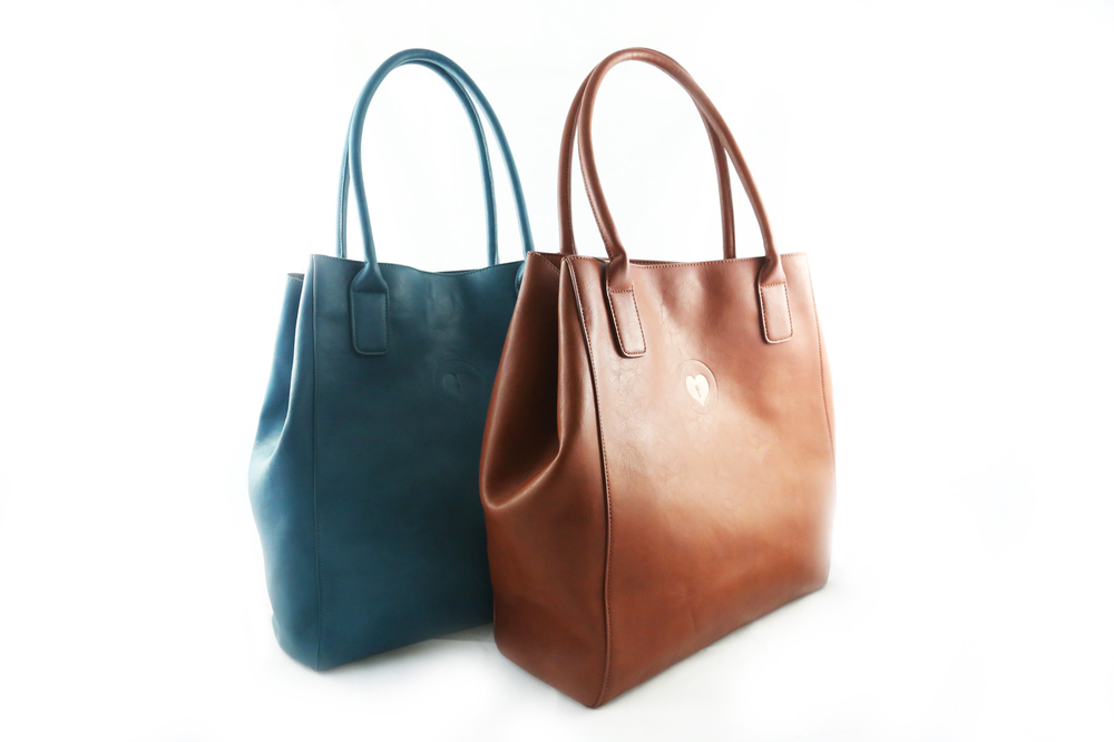 Camille's Closet - Cognac + Teal Carry-all in vegan leather.