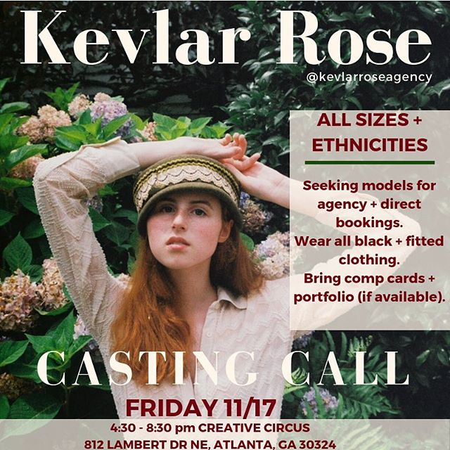 Open casting call for @kevlarroseagency is happening today @creativecircus. Guest judges include @quaintrevolt & @elijahddavis. Models of all sizes and ethnicities are encouraged. See you there at 4:30. #quaintrevolt #quaintrevoltmag #kevlarrose #kevlarroseagency #model #models #modelsearch #photography #atlanta #creativecircus #atl #fashion #runway #editorial #style #stylist #quaintrelle #influencer