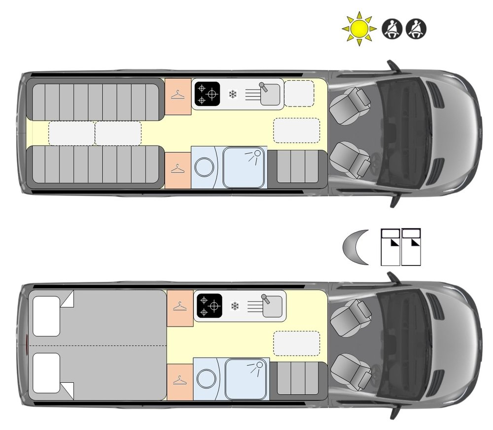 Phantom 2 day and night layouts © RP Motorhomes Ltd 2018