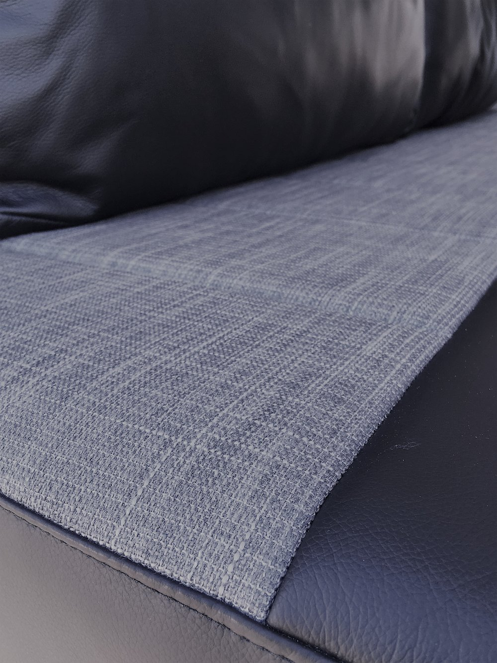 Fabric and leather upholstery