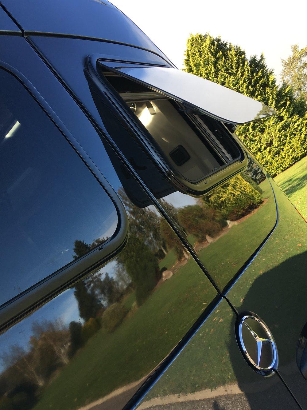 Rear double glazed, open out windows