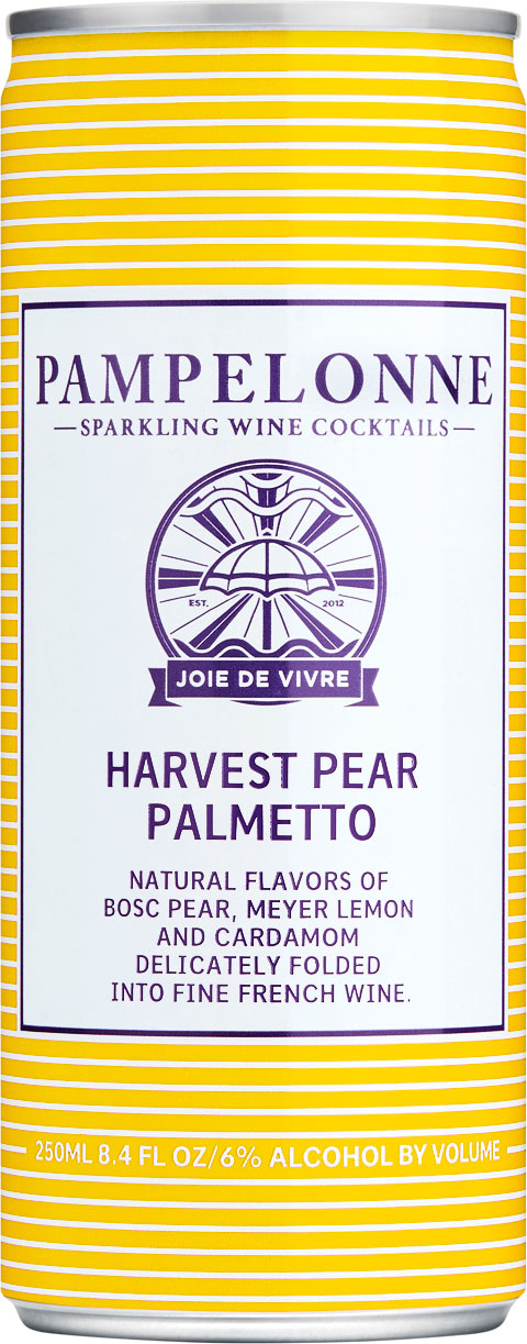 "<p id=""p75"">Harvest Pear Palmetto</p>Natural flavors of Bosc pear, Meyer lemon and cardamom delicately folded into fine French wine <br><br> SEASONAL"