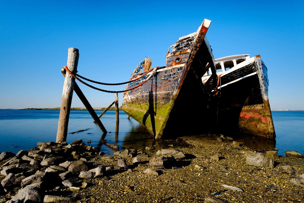 These two ships moored together formed the basis of my subject matter for the location.  There are older more skeletal shipwrecks, but I found the size of these 2 really appealing.