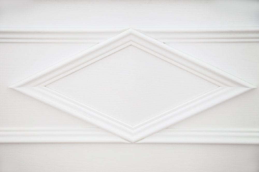 white painted cabinet detail
