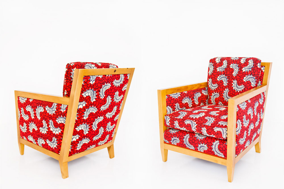 cypress armchair African fabric