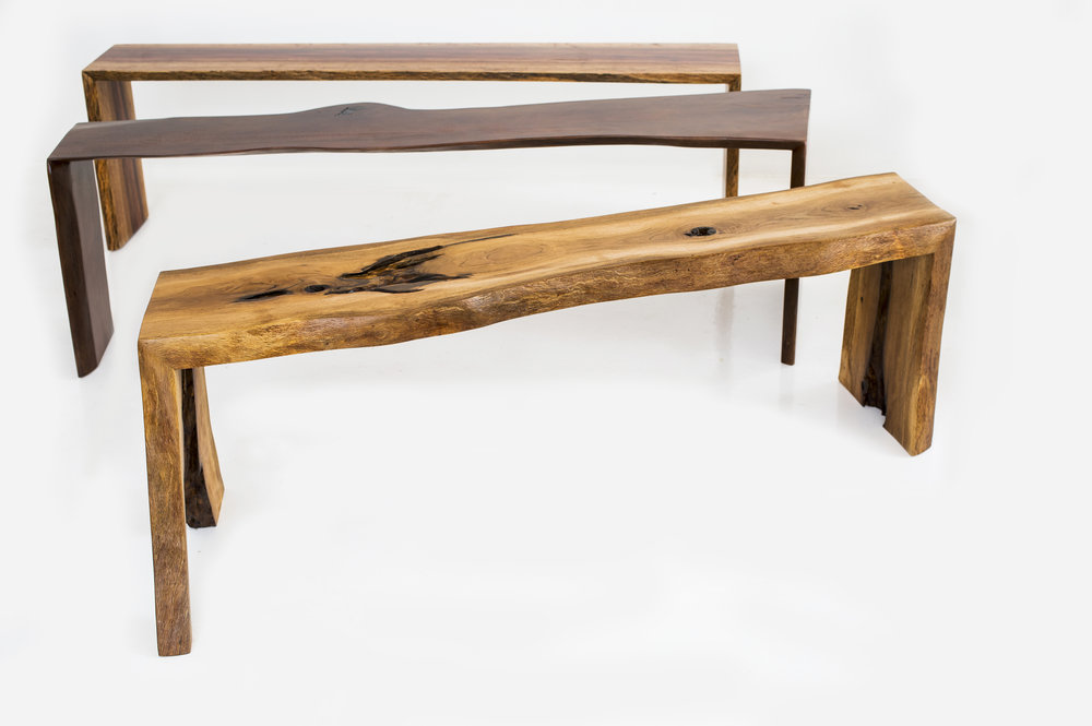 slab wood benches