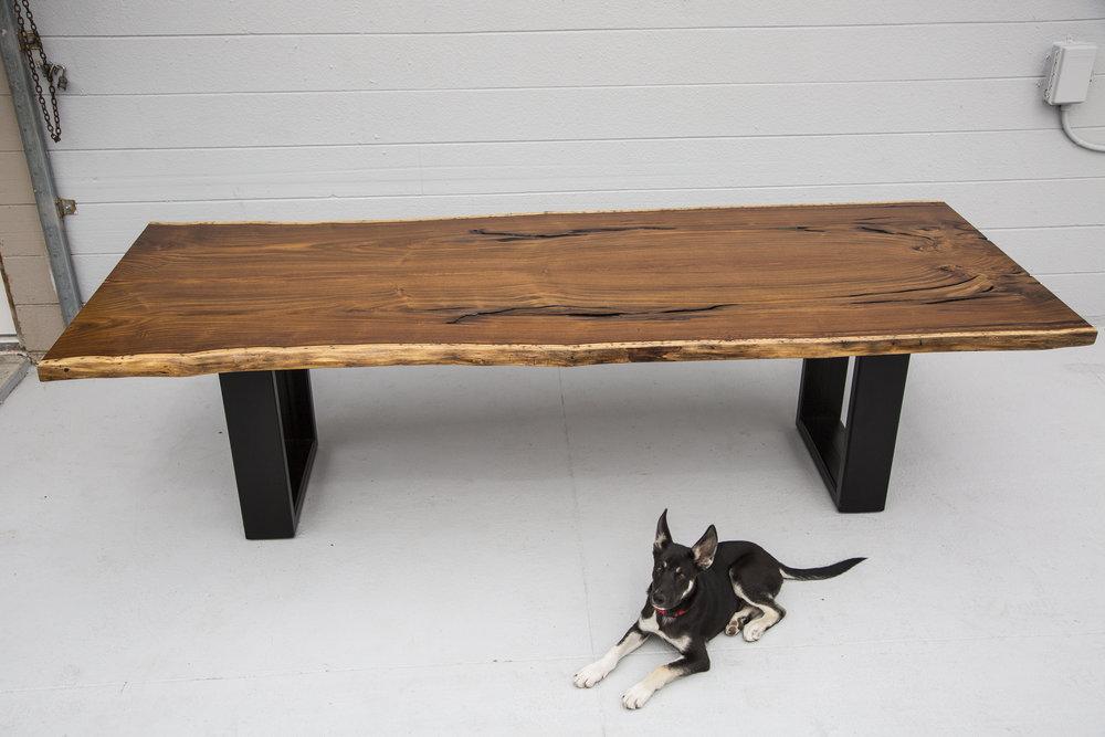 slab wood dining table ebony bases