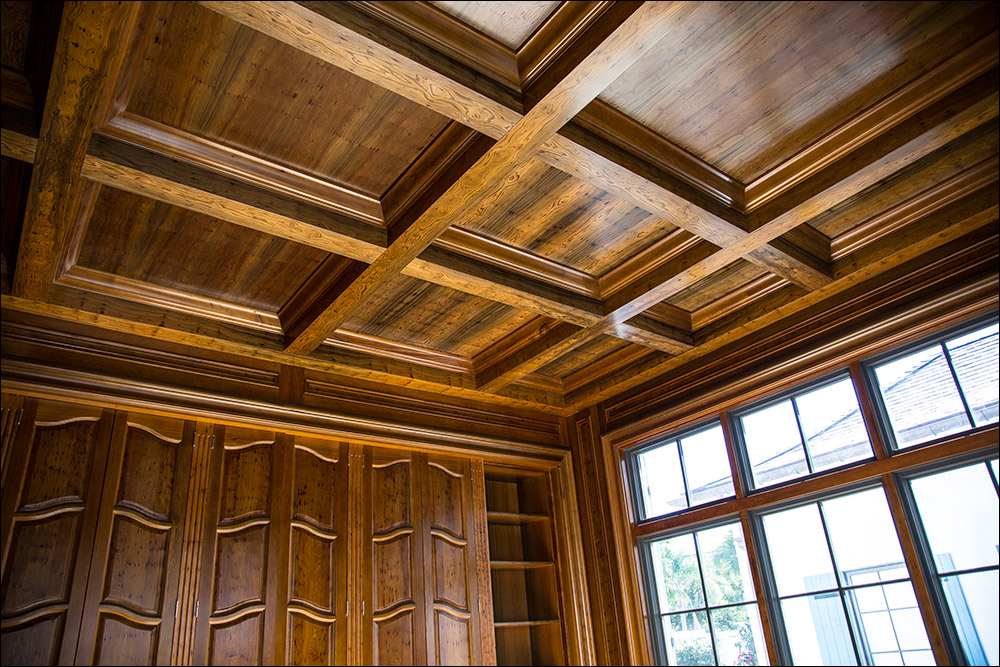 custom cypress wood paneled office ceiling