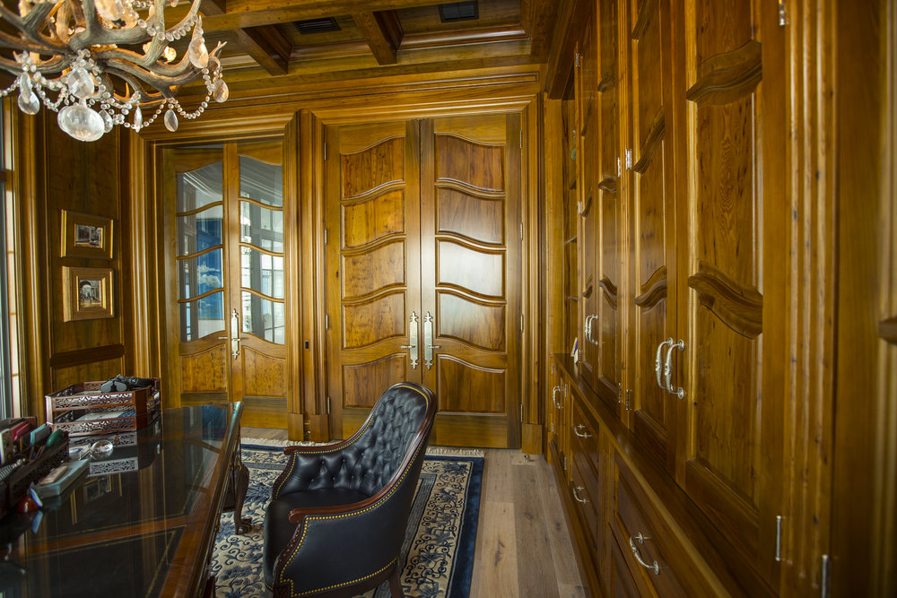 custom wood paneled office