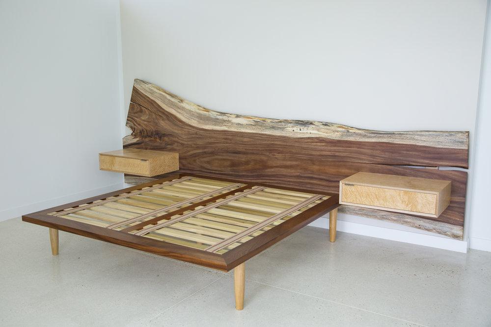 slab wood headboard and bed