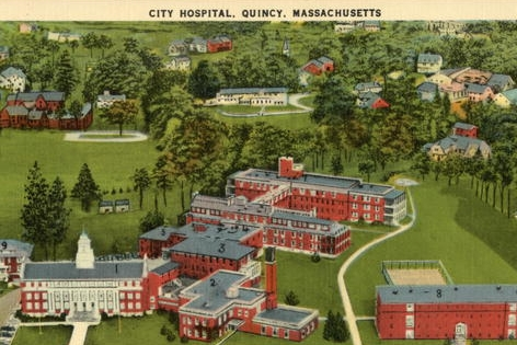 Postcard of Quincy City Hospital (114 Whitwell St.)
