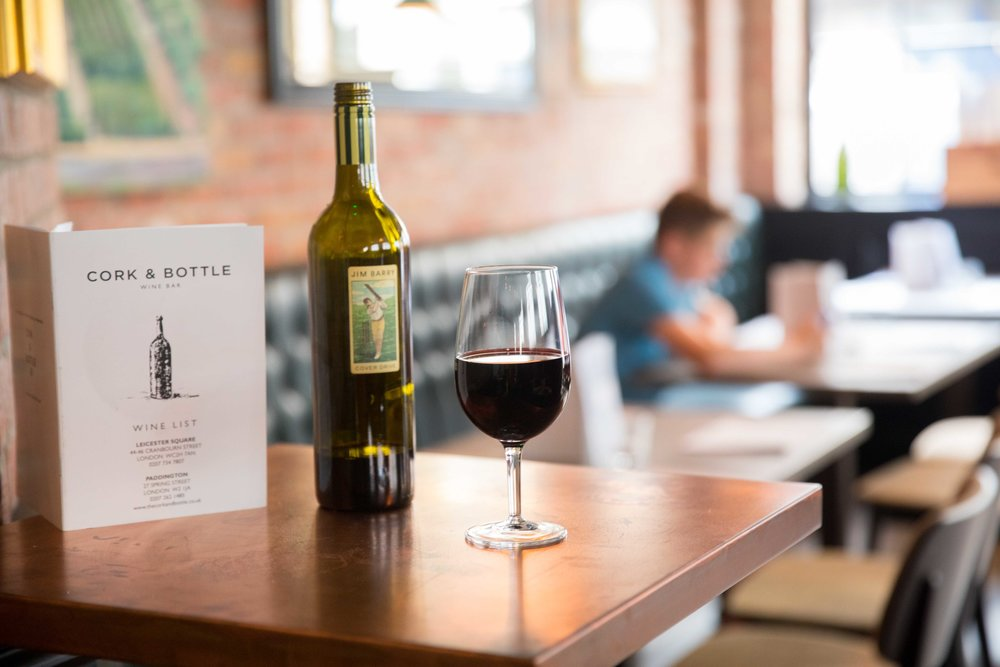 Commercial photography for Cork & Bottle Wine Bar in Paddington, London
