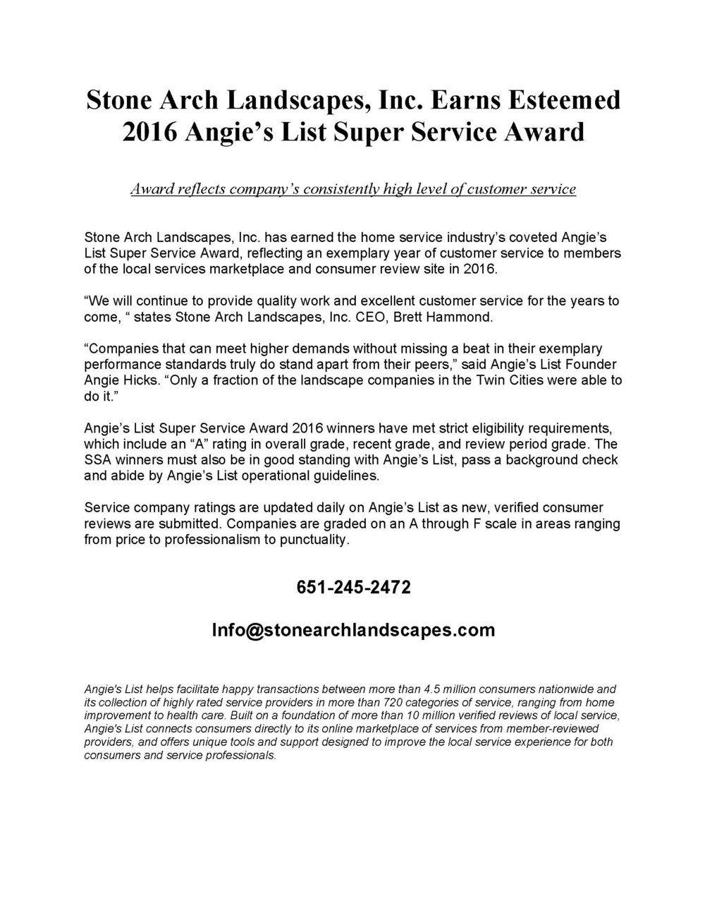 Only Fraction Of Students Consistently >> 2016 Angie S List Super Service Award Stone Arch Landscapes