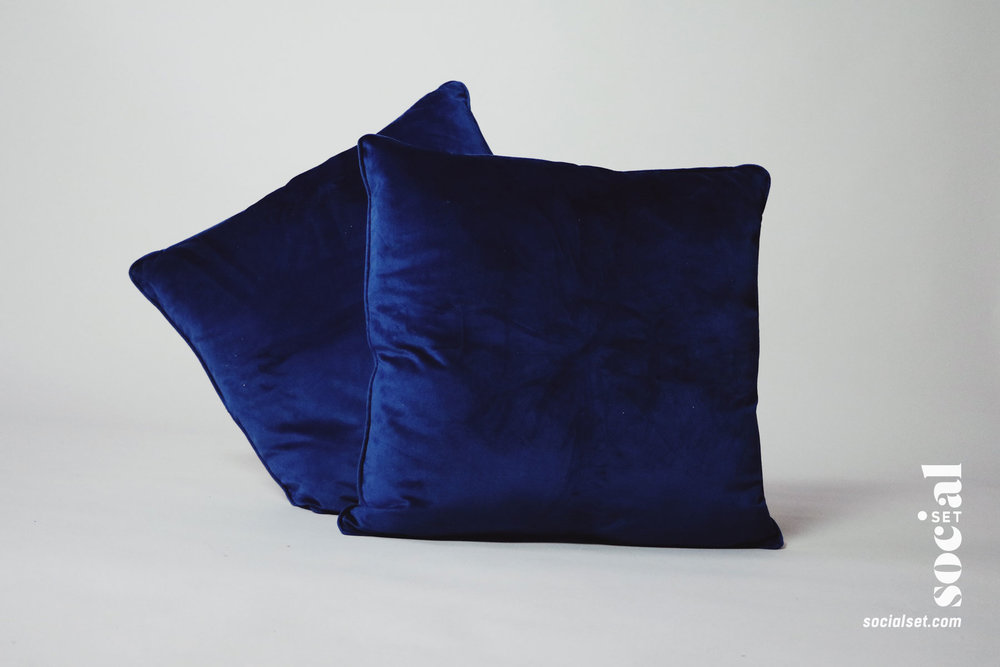 Blue Velvet Pillow Props