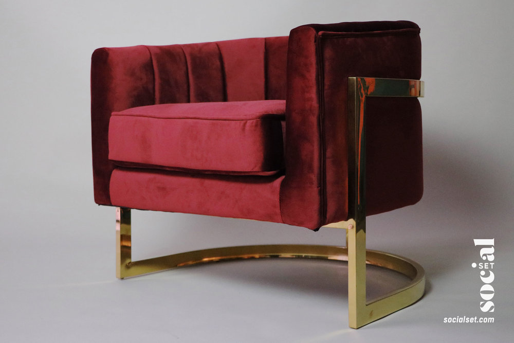 Red / Wine Velvet Chair